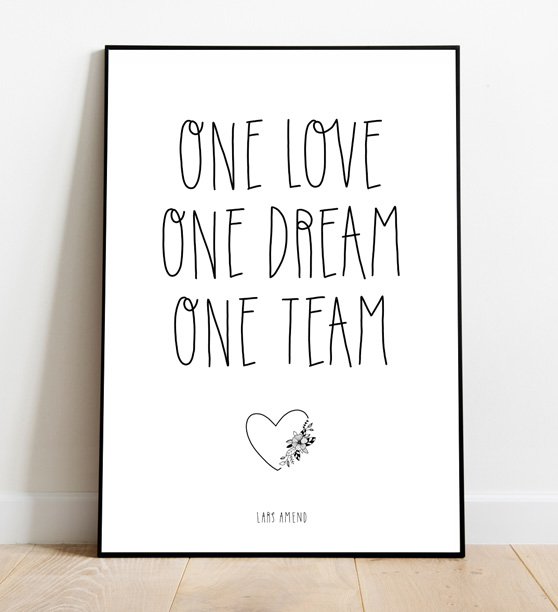 Poster 7: One Love, One Dream, One Team (Pencil Design)